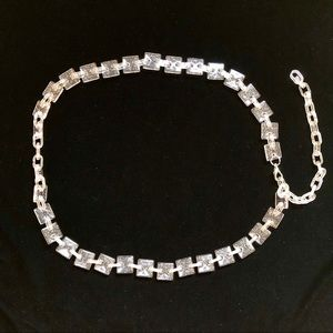 Accessories - NWOT glitter plastic chain belt pink silver